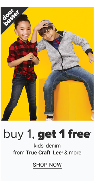 A girl wearing a red & black plaid long sleeved button front blouse & black jeans standing next to a boy wearing a light gray hoodie over a red & black horizontal striped shirt & blue jeans. Doorbuster. Buy 1, Get 1 Free kids denim from True Craft, Lee & more. Shop now.