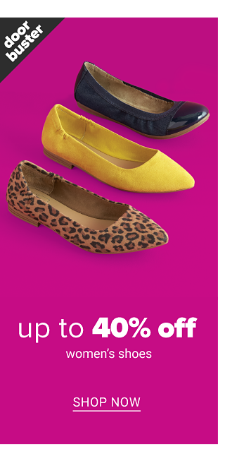 An assortment of women's flats in a variety of colors, prints & styles. Doorbuster. Up to 40% off women's shoes. Shop now.
