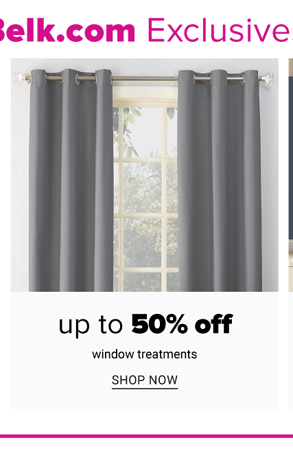 A window with dark gray curtains. Up to 50% off window treatments. Shop now.