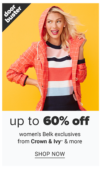 A woman wearing a salmon & white check hoodie over a multi colored colorblock top & black pants. Doorbuster. Up to 60% off women's Belk exclusives from Crown & Ivy & more. Shop now.