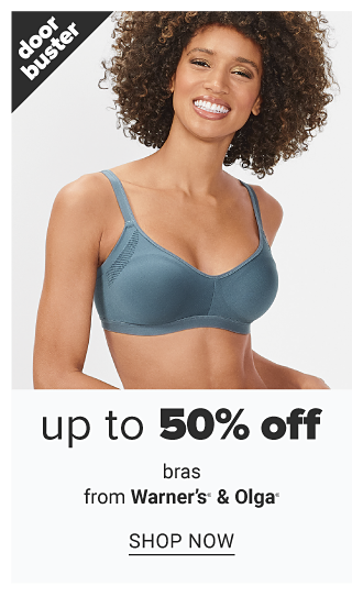 A woman wearing a denim blue sports bra. Doorbuster. Up to 50% off bras from Warner's & Olga. Shop now.