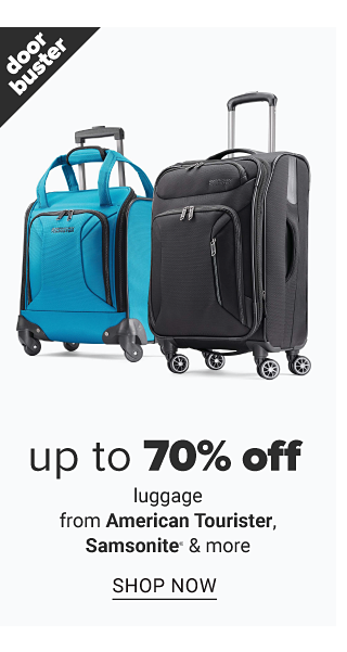 A teal wheeled suitcase & a black wheeled suitcase. Doorbuster. Up to 70% off luggage from American Tourister, Samsonite & more. Shop now.