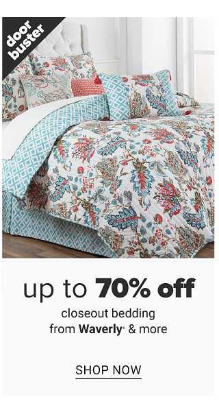 A bed made with a multi colored print quilt & matching pillows. Doorbuster. Up to 70% off closeout bedding from Waverly & more. Shop now.