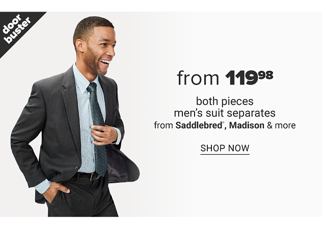 A man wearing a dark gray suit, light gray dress shirt & dark gray tie. Doorbuster. From $119.98 both pieces men's suit separates from Saddlebred, Madison & more. Shop now.