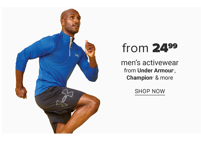 A man wearing a blue quarter zip fleece & black shorts. Doorbuster. From $24.99 men's activewear from Under Armour, Champion & more. Shop now.