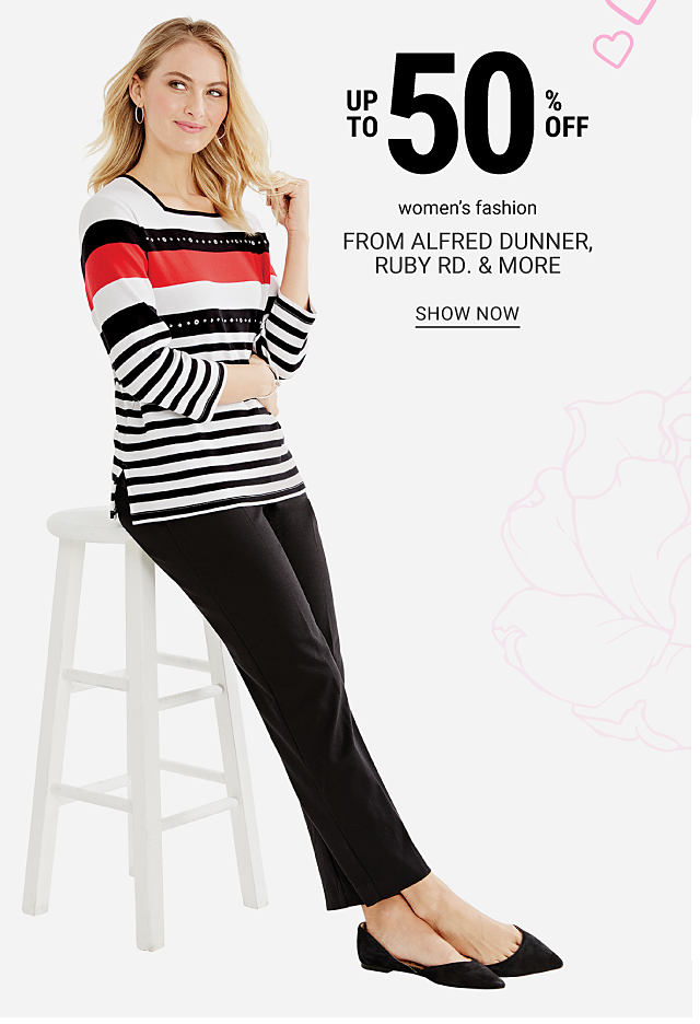 A woman wearing a red, black & white horizontal stripes long sleeved top, black pants & black flats. Up to 50% off women's fashion from Alfred Dunner, Ruby Road & more. Shop now.