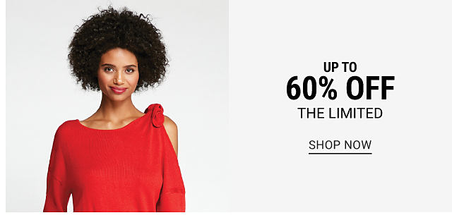 A woman wearing a red long sleeved top. Up to 60% off The Limited. Shop now.