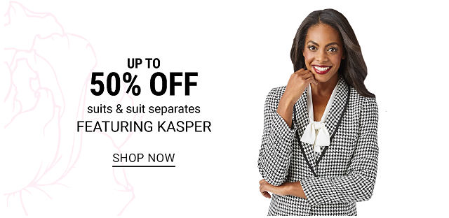 A woman wearing a black & white houndstooth blazer & a white scarf. Up to 50% off suits & suit separates featuring Kasper. Shop now.