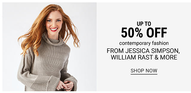 A woman wearing a beige cowl neck sweater. Up to 50% off contemporary fashion from Jessica Simpson, William Rast & more. Shop now.