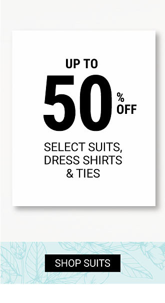 A man wearing a gray suit, a white dress shirt & a navy tie standing next to a man wearing a navy suit, a blue & white check dress shirt & a purple tie. Buy 1, Get 1 50% off select suits, dress shirts & ties. Free or discounted items must be of equal or lesser value. Shop suits.