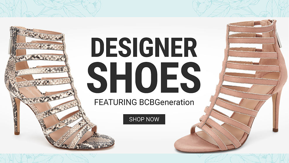 A gold metallic gladiator heel. A beige gladiator heel. Designer Shoes featuring B C B Generation. Shop now.