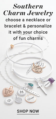 A variety of personalized jewelry. Southern Charm Jewelry. Choose a necklace or bracelet and personalize it with your choice of fun charms. Shop now.