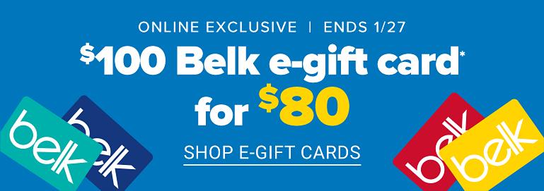 belk.com - Belk E-gift Cards @ just $80