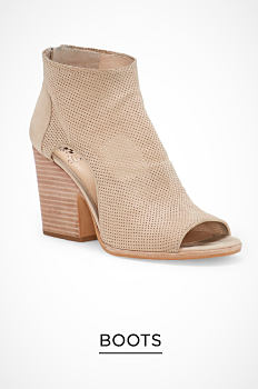 A beige suede wedge bootie. Boots. Shop now.
