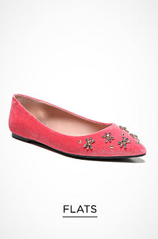 A pink velvet flat with embellished detail. Flats. Shop now.