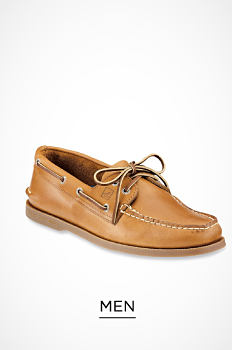 A brown leather men's deck shoe. Men. Shop now.