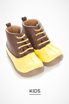 A pair of brown & yellow kids' duck boots. Kids. Shop now.
