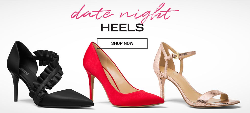 A black strappy heel with frilly detail, a red heel & a gold metallic strappy heel. Date Night Heels. Shop now.