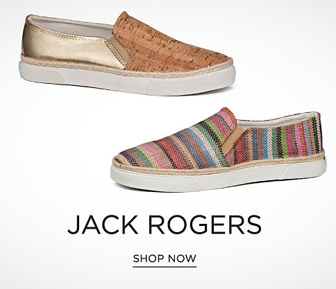 A beige & gold metallic slip-on shoe & a multi-colored striped slip-on shoe. Jack Rogers. Shop now.