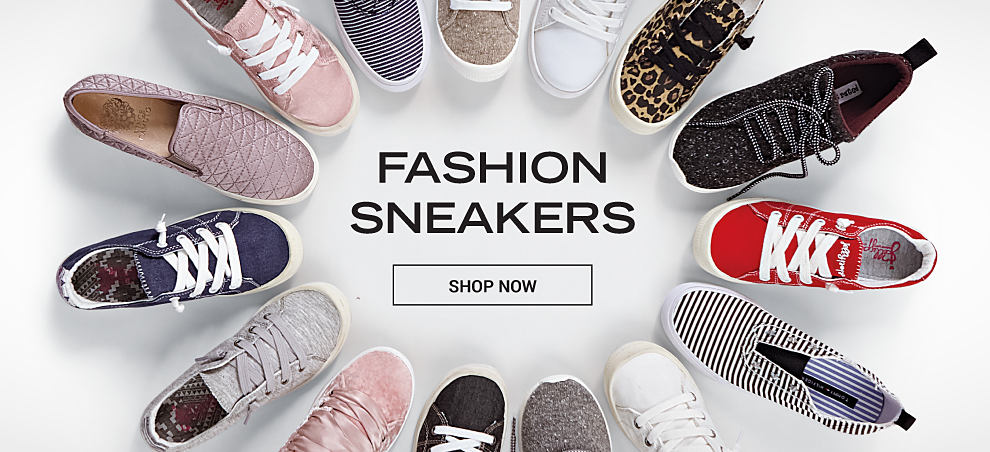 An circle of fashion sneakers in an assortment of colors & styles. Fashion Sneakers. Shop now.