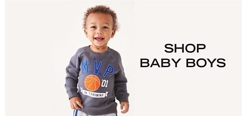 A baby boy wearing a long-sleeved gray, blue, orange & white basketball M V P in training shirt. Shop baby boys.