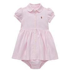 A pink short sleeved dress. Shop girls.