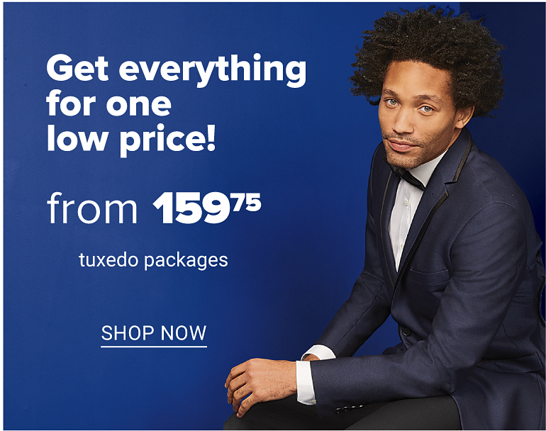 A man in a navy tuxedo, a white dress shirt and navy bow tie. Get everything for one low price from 159.75 tuxedo packages. Shop now.