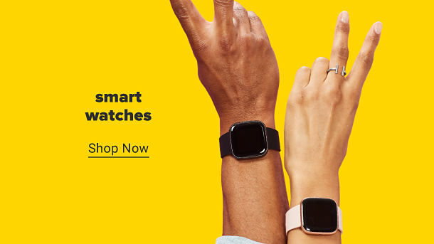 Two hands holding up the peace sign, each wearing a smart watch. Smart watches. Shop now.