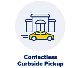 A yellow car in front of a store. Contactless curbside pickup.