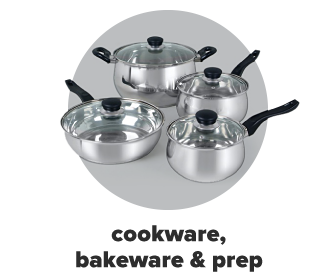 Four silver pots. Cookware, bakeware and prep.