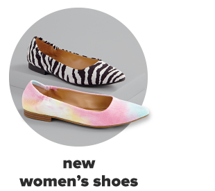 Two shoes, one zebra print and the other pastel tie dye. New women's shows.