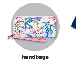A clutch handbag with a floral pattern in pinks, blues and greens. Handbags.