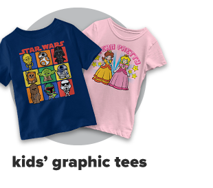 A blue shirt with Star Wars cartoon characters, and a pink shirt featuring Princess Daisy and Princess Peach from Super Mario Brothers. Kids' graphic tees.