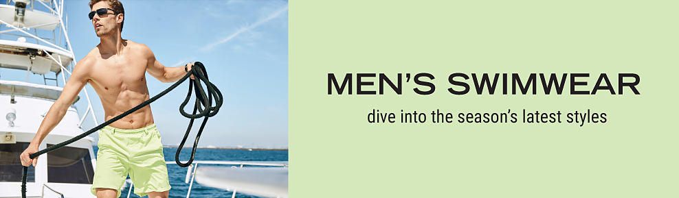Men?s swimwear. Dive into the season?s latest styles.