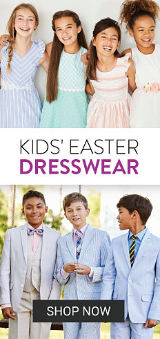 Four girls wearing different styles of pastel Easter dresses. Three boys wearing different styles of pastel Easter suits. Kids Easter Dresswear. Shop now.