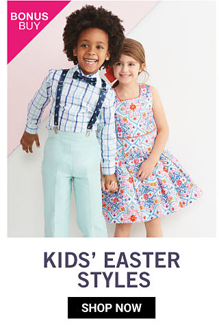 A boy wearing a black & white plaid dress shirt, navy suspenders, a navy bow tie & light blue pants standing next to a girl wearing a blue, red & white patterned print sleeveless dress. Bonus Buy. Kids Easter Styles. Shop now.