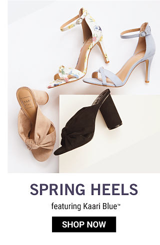 An assortment of women's heels in a variety of colors & styles. Spring Heels featuring Kaari Blue. Shop now.