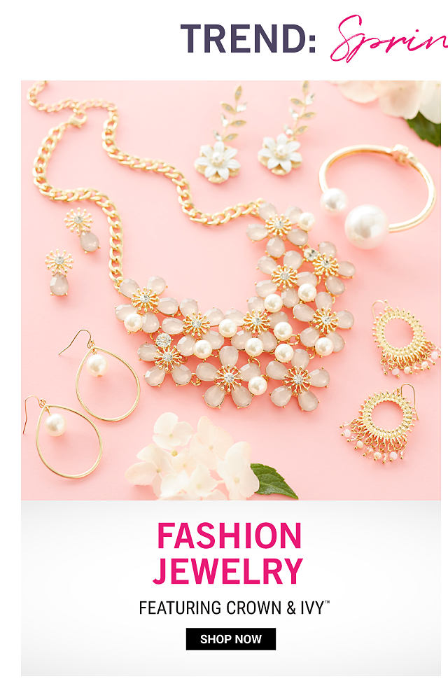 An assortment of faux pearl fashion jewelry necklaces, bracelets & earrings. Fashion Jewelry featuring Crown & Ivy. Shop now.
