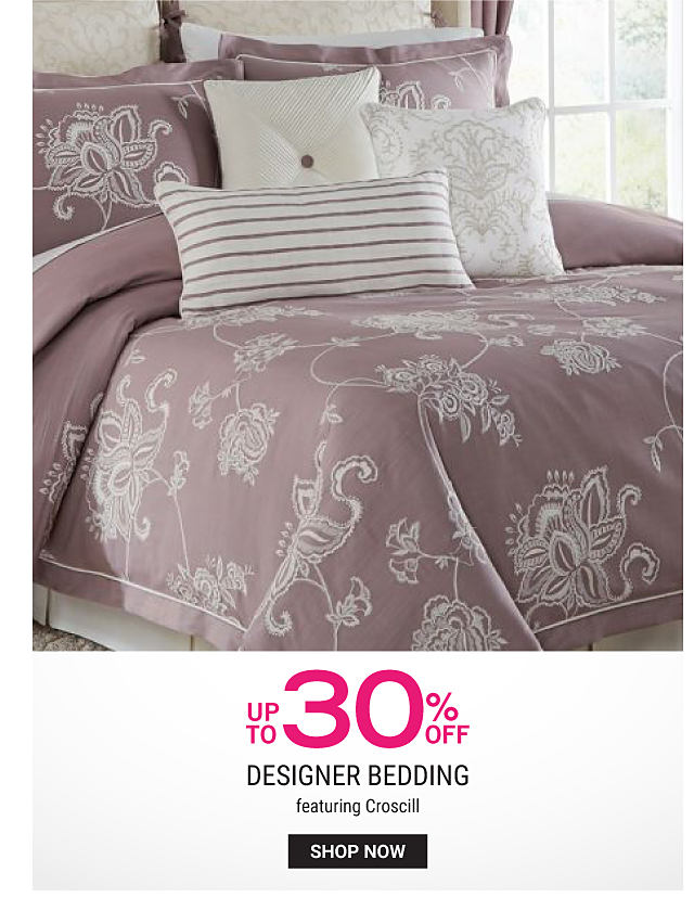 A bed made with a beige & whtie patterned print comforter & matching pillows. Up to 30% off designer bedding featuring Croscill. Shop now.