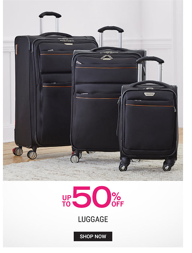 A black 3 piece wheeled luggage set. Up to 50% off luggage. Shop now.