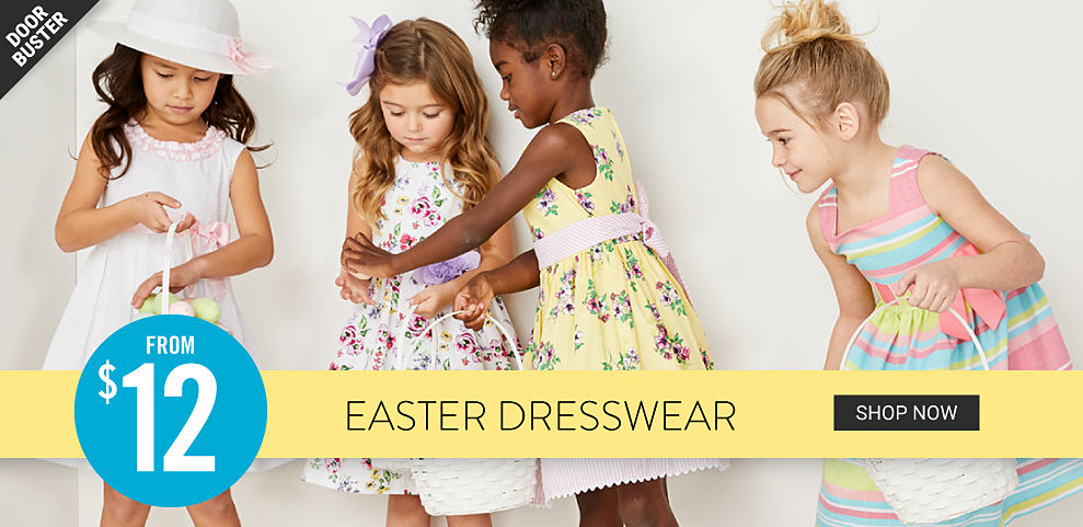 Four girls wearing different colors & styles of Easter dresses. Doorbuster. From $12 Easter dresswear. Shop now.