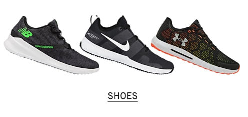 A New Balance sneaker. A Nike sneaker. An Under Armour sneaker. Shop shoes.