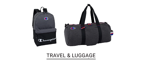 A gray and black Champion backpack and a duffle bag. Shop travel and luggage.