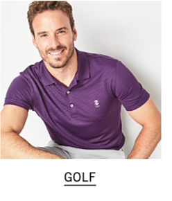 A man wearing a purple polo & white pants. Shop golf.
