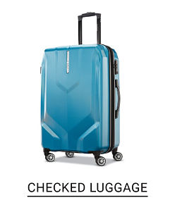 A neon blue hard body spinner bag. Shop checked luggage.