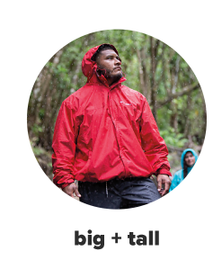 A man in a red rain jacket and black pants. Big and tall.