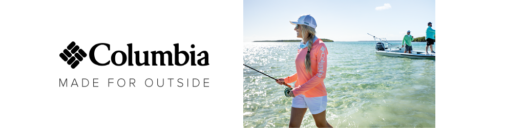 Columbia. Made for outside. A woman in a white hat, a peach longsleeve shirt and white shorts with two men on a white fishing boat behind her.