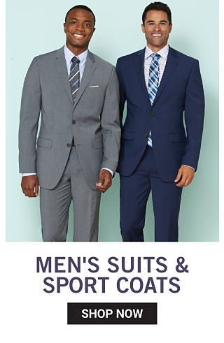 A man wearing a gray suit, a white dress shirt & a multi colored striped tie standing next to a man wearing a black suit, a white dress shirt & a multi colored plaid tie. Men's Suits, Sport Coats & More. Shop now.
