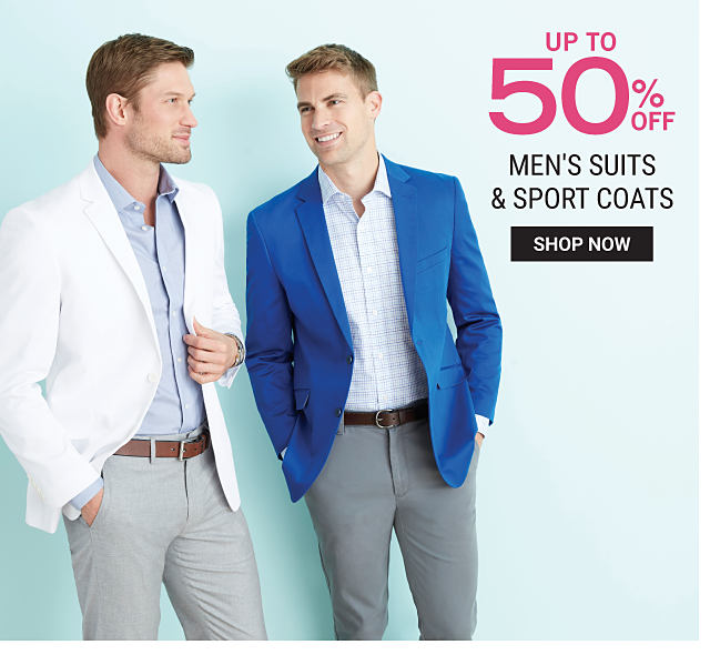 A man wearing a white sport coat, a light blue dress shirt & gray pants standing next to a man wearing a blue sport coat, a white & light blue plaid dress shirt & dark gray pants. Up to 50% off men's suits & sport coats. Shop now.