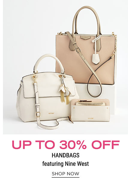 A white leather handbag, a white leather wallet & a beige leather tote. Up to 30% off handbags featuring Nine West. Shop now.